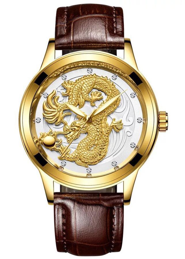 Đồng hồ nam dây da mặt chạm Rồng Vàng nổi 3D
