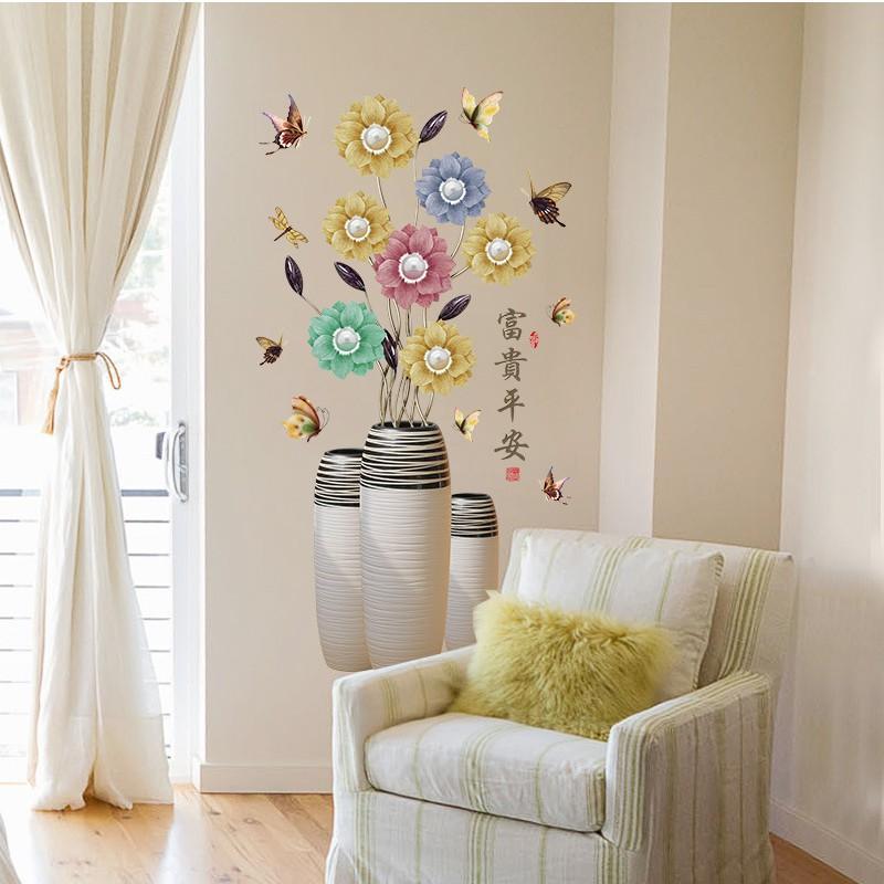 Decal dán tường cho bé hình bình hoa nhiều màu