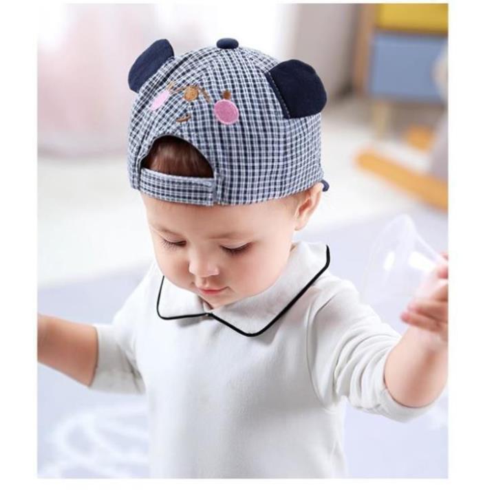 Mũ Trẻ em,Mũ lưỡi trai kẻ sọc hoạ tiết dễ thương thời trang cho bé