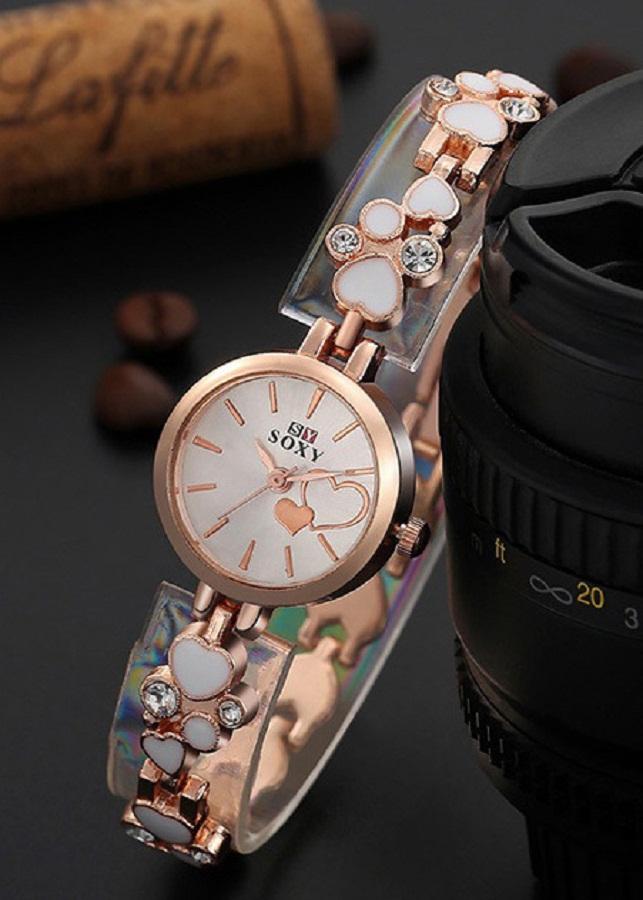 Đồng hồ nữ dây họa tiết trái tim SOXY mặt tròn xinh xắn SX09