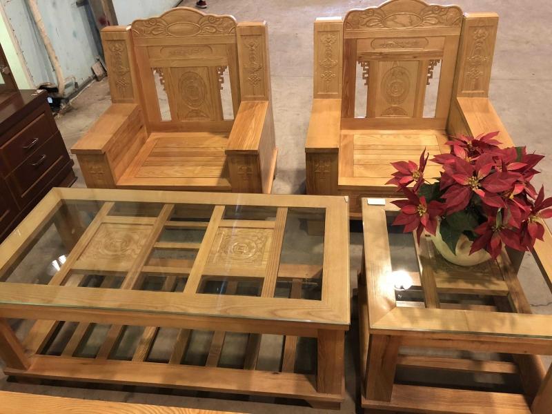 Bộ bàn ghế phòng khách như ý gỗ sồi , Bộ Salon Như Ý , Bộ ghế đối như ý mặt nan gỗ sồi Nga bộ ban ghế pông khach