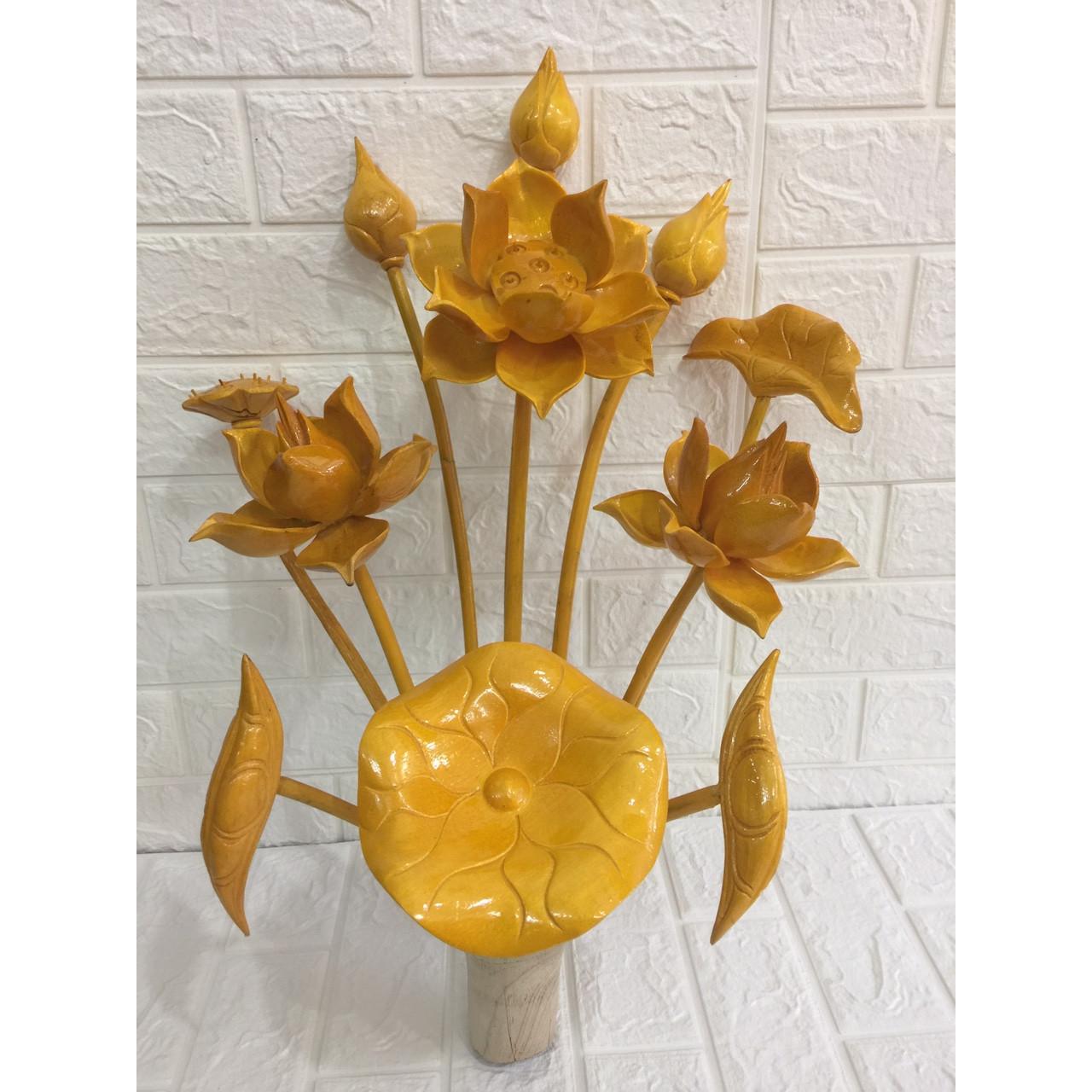 Hoa sen thờ gỗ mít cấm lọ  ( để thờ hoặc trang trí )