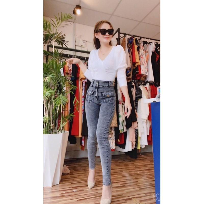 Quần Jeans Nữ Lưng Cao Phối Túi hộp thời trang