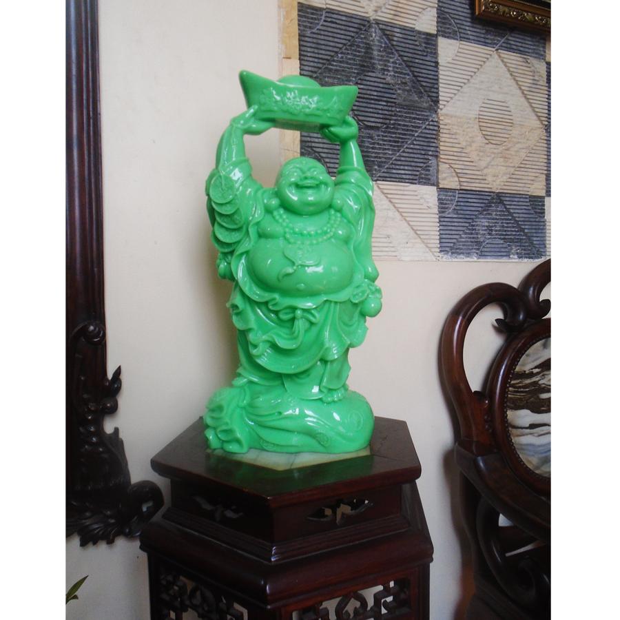 Tượng Phật Di Lặc bằng đá poly nâng vàng màu xanh ngọc NVX48