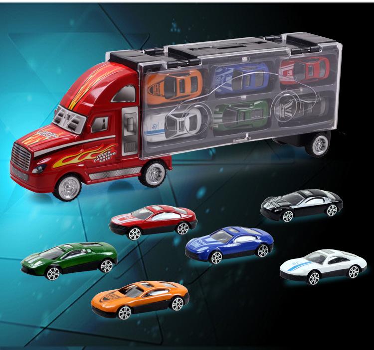 Bộ Xe Container Di Động Chuyên Trở 12 Xe Hơi Hợp Kim - Mô Hình Xe Trẻ Em