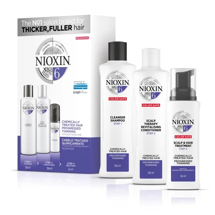Bộ dầu gội xả Nioxin 6 Chemically Treated Hair Progressed Thinning Travel Kit Cho tóc uốn duỗi tẩy có dấu hiệu thưa rụng Mỹ 150ml