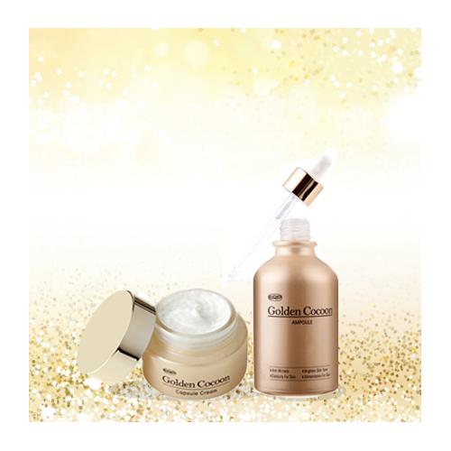 Combo Dưỡng Da Chuyên Sâu Kén Tơ Tằm Vàng Golden Cocoon Ampoule And Capsule Cream