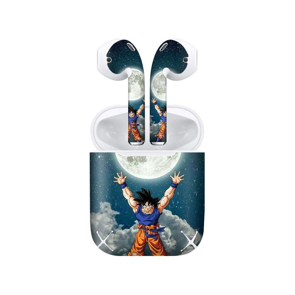 Miếng dán skin chống bẩn cho tai nghe AirPods in hình Songoku Dragon Ball - 7vnr015 (bản không dây 1 và 2)