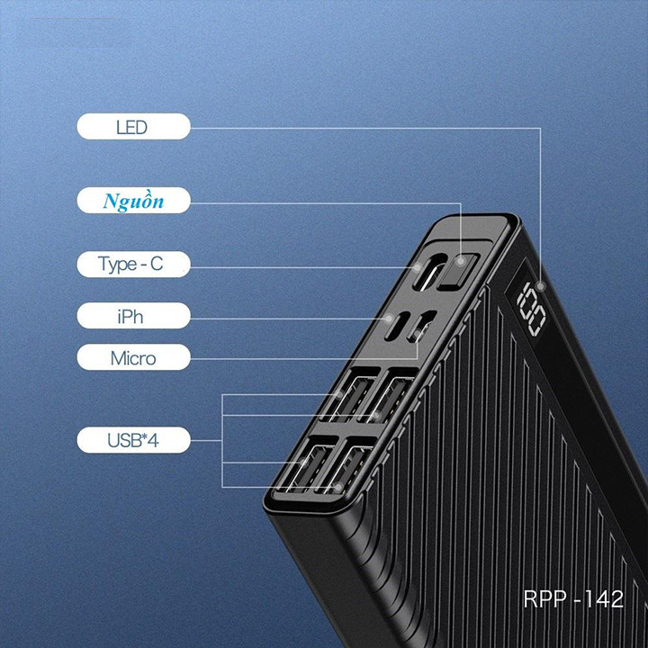 Pin Dự Phòng 20000mah Remax RPP-142 Hunyo Series 4 cổng USB - Hàng nhập khẩu