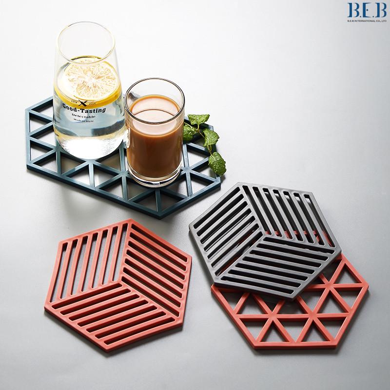 Miếng lót nồi, xoong chảo,đế lót bát đĩa cách nhiệt chất liệu silicon họa tiết hình học A03561