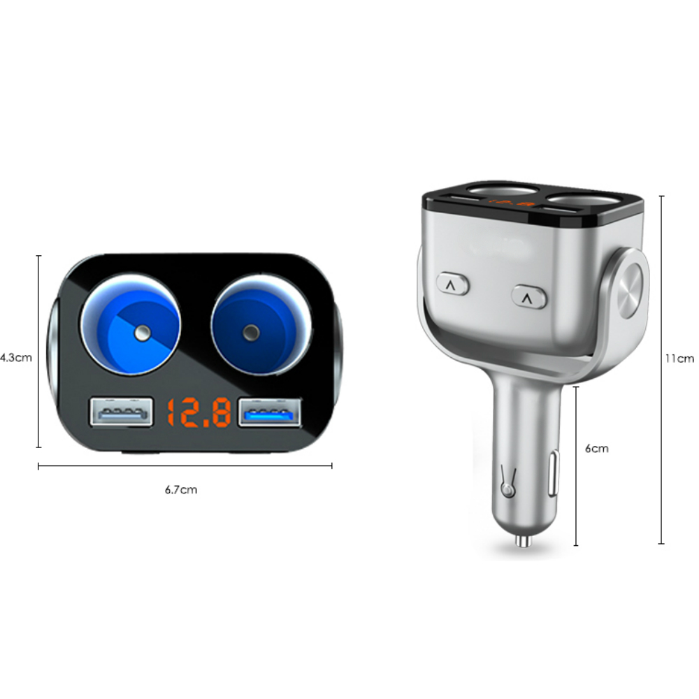 Bộ Chia Tẩu Kèm Cổng Sạc USB TM-OZ, 2 Cổng Tẩu 12-24V, 2 Cổng Sạc USB, 1 Cổng Sạc Nhanh