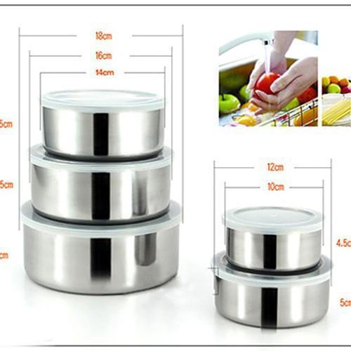 Bộ 5 hộp đựng thực phẩm inox BY9040