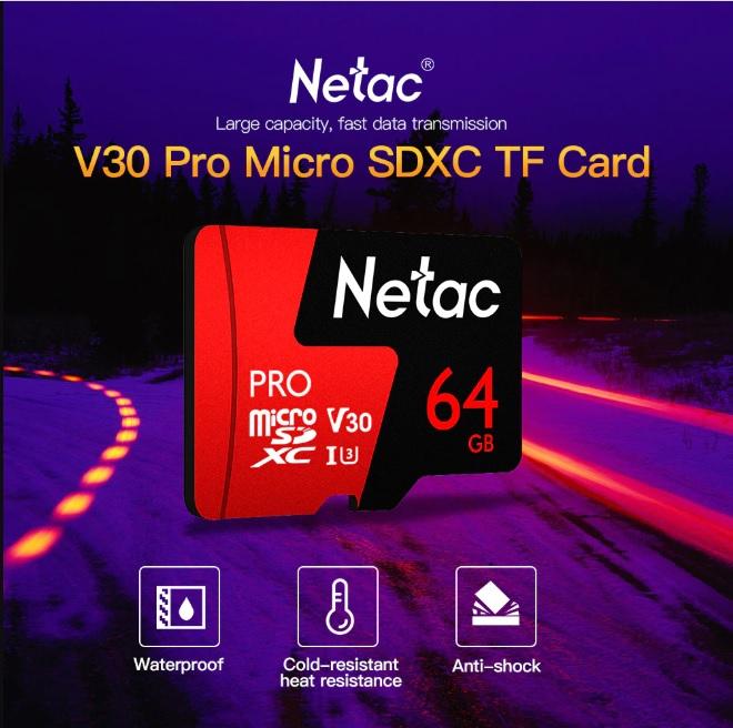 Thẻ nhớ microSDXC Netac Pro 64GB U3 4K V30 98MB/s - chuyên camera, máy quay và điện thoại (Hàng chính hãng)