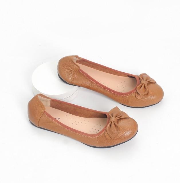 Giày Búp Bê Bệt Da Bò Thật Siêu Êm Gắn Nơ Pixie X424