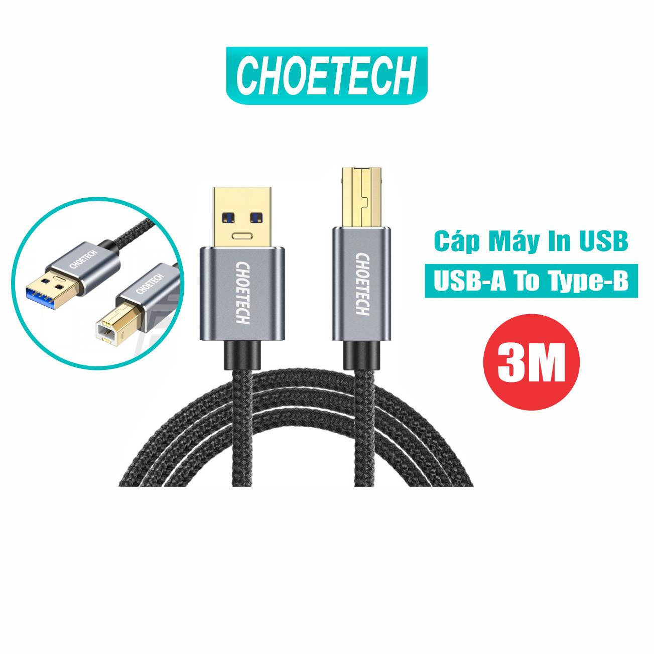 Dây Cáp Máy In USB 2.0 Từ USB-A To Type-B Dài 3M CHOETECH AB0011 - Hàng Chính Hãng
