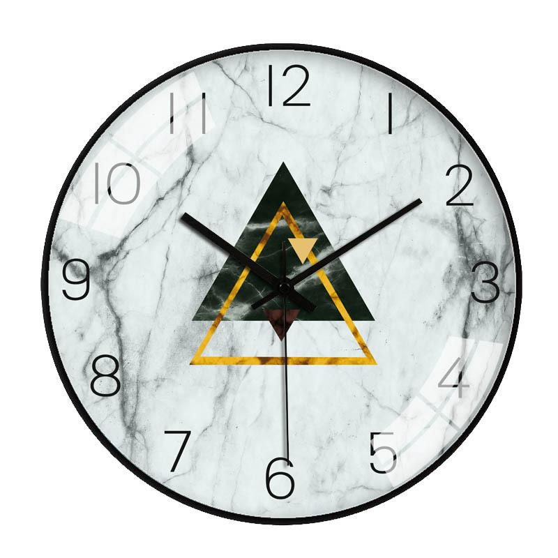 Đồng hồ treo tường tròn vân đá hoạ tiết hình tam giác lồng nhau 30cm