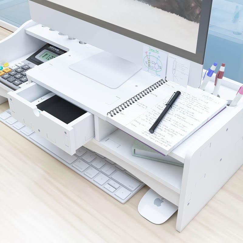 Kệ màn hình máy tính để bàn kệ đỡ màn hình vi tính giảm mỏi cho dân văn phòng kệ sách kệ hồ sơ để bàn kèm cắm viết bằng tấm gỗ nhựa composite màu trắng - Tặng kèm 1 móc khóa khung hình thời trang