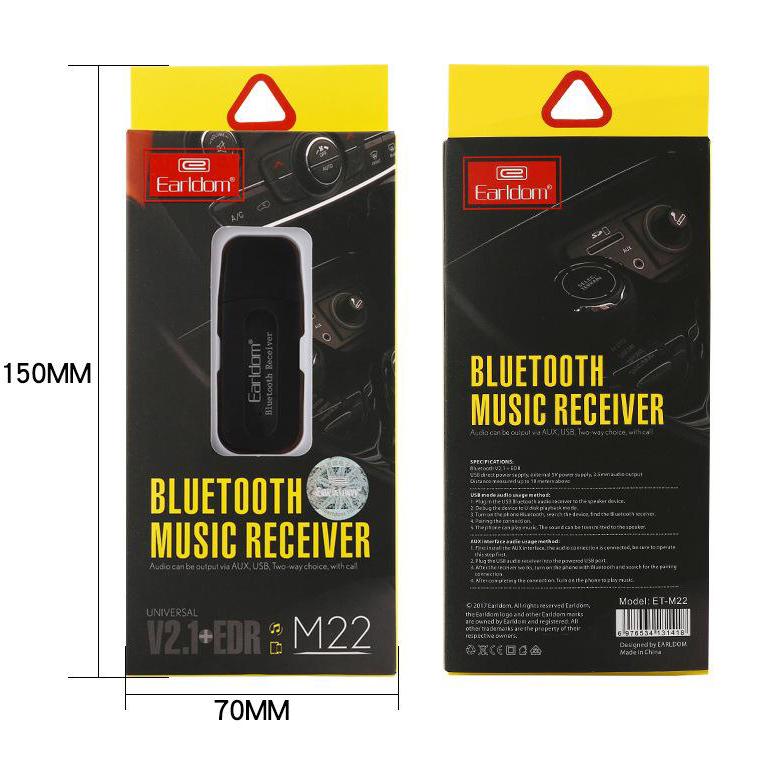 Earldom Bluetooth Receiver ET-M22 - Thiết bị biến loa thường thành loa bluetooth (Màu ngẫu nhiên) - Hàng Nhập Khẩu