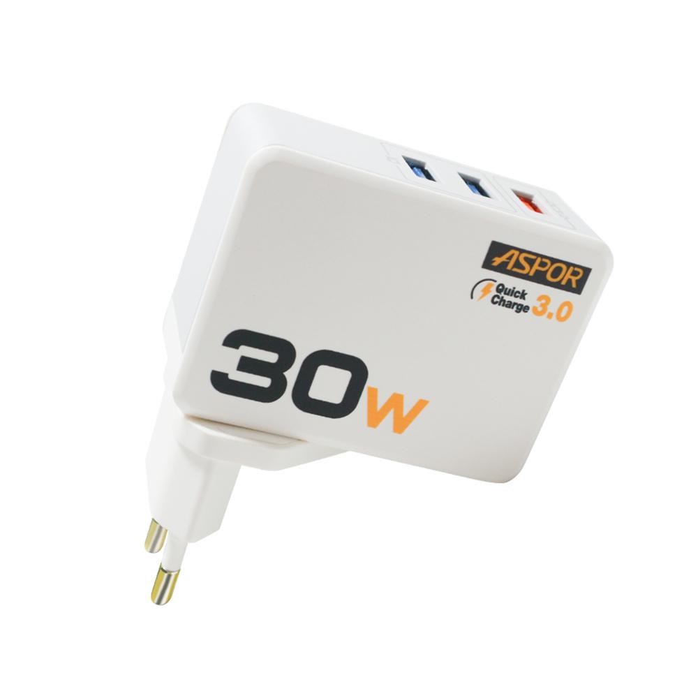 Cốc sạc nhanh 30W 3 cổng USB, đèn Led báo điện  A858 - Hàng chính hãng