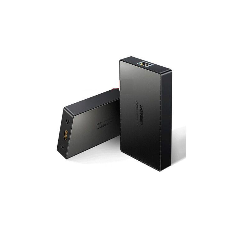 bộ nối dài cáp HDMI qua 1 dây mạng RJ45 cat5e cat6 màu đen Ugreen 215BN50999CM 70M 4K hàng chính hãng