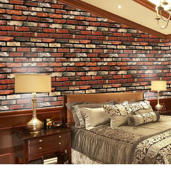 Cuộn 5m Decal Giấy Dán Tường Gạch 3D đỏ (5m dài x 0.45m rộng)