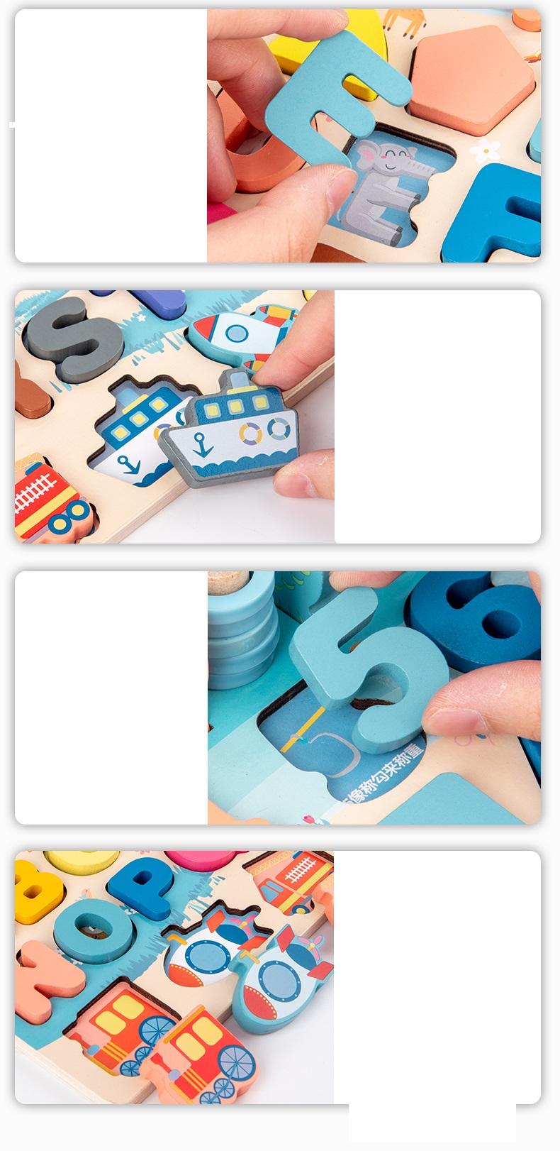 Bộ Đồ Chơi Gỗ Xếp Khối, Giáo Cụ Montessori Ghép chữ, Ghép số, Câu Cá, Xếp Khối, Ghép Hình - 6 trong 1