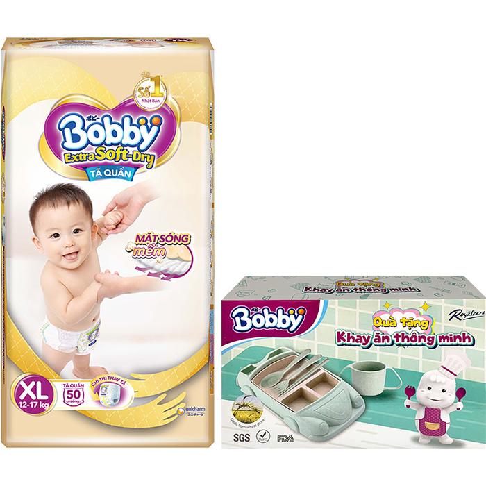 Tã Quần Bobby Extra Soft  Dry XL50 - Tặng Khay Ăn Thông Minh