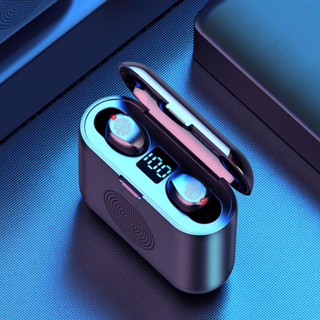 Tai nghe không dây F9 V5.0 KIÊM LOA DI ĐỘNG Bluetooth và PIN SẠC DỰ PHÒNG 2000mAh, tích hợp giá đỡ điện thoại - Hàng chính hãng