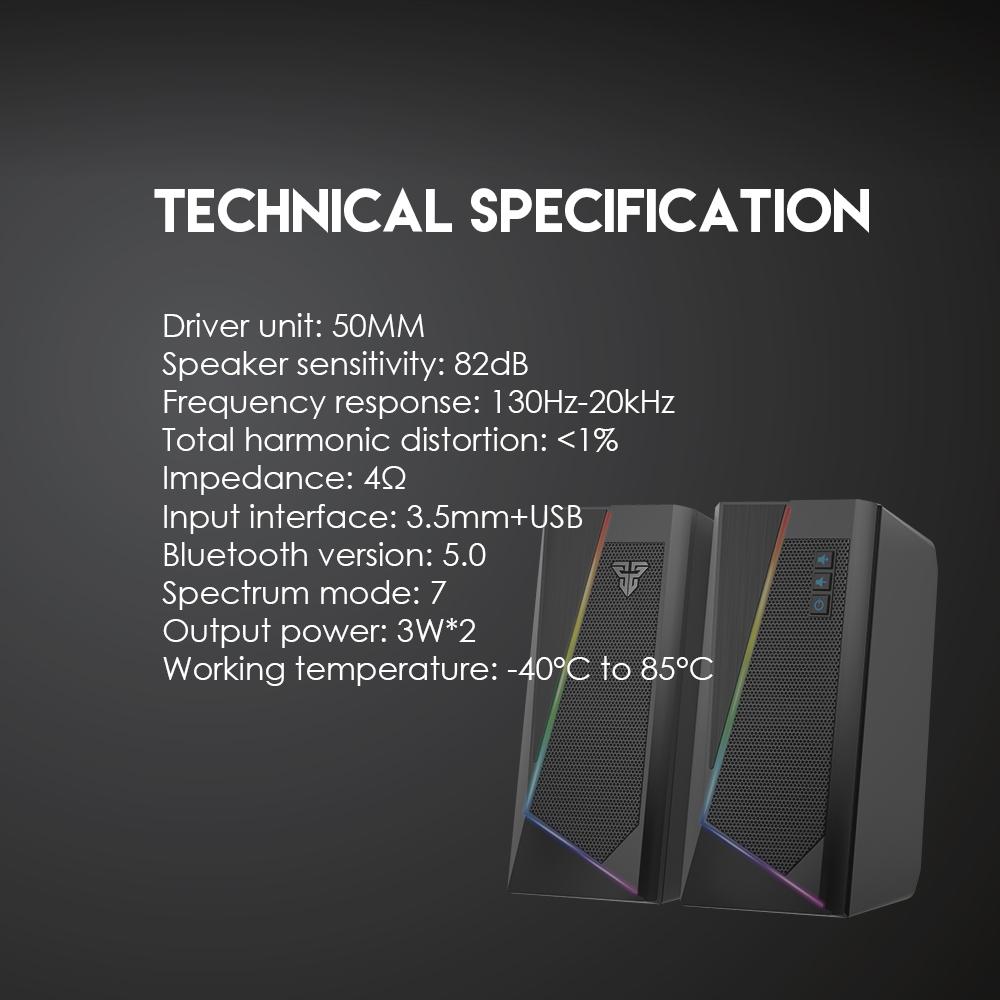 Loa vi tính Fantech GS204 RUMBLE có led RGB 7 chế độ, hỗ trợ kết nối bluetooth 5.0 và 3.5mm - Hàng chính hãng