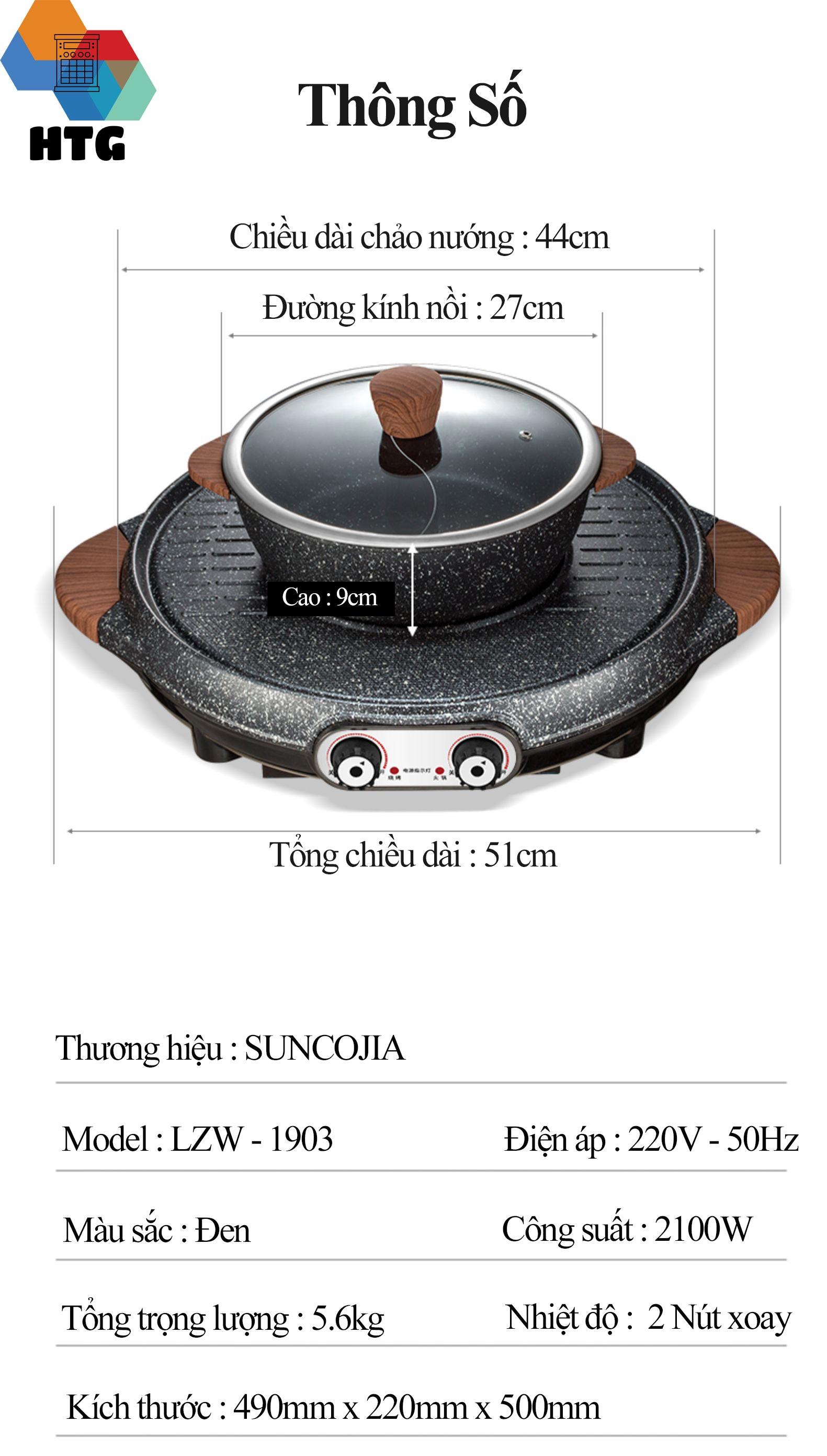 Bếp lẩu nướng tròn Suncojia LZW-1903 bằng đá y học chống dính, nóng nhanh 2100W, nút điều khiển tích hợp an toàn, Hàng Chính Hãng