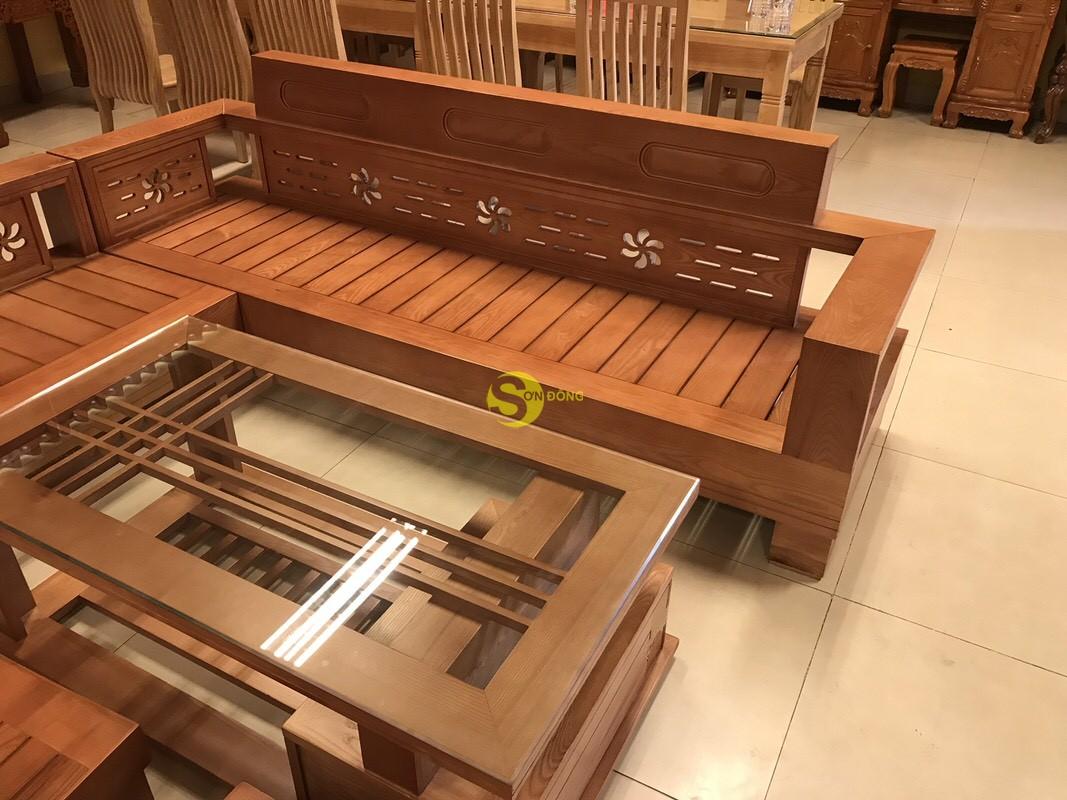 Bộ sofa góc hoa thủy gỗ sồi Nga