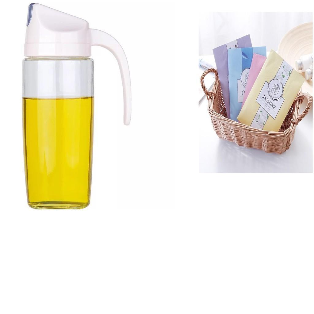 Bình dầu ăn tự động mở nắp tặng kèm túi thơm treo tủ quần áo