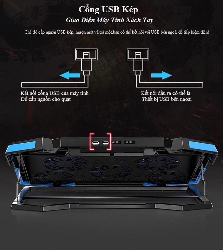 Đế Tản Nhiệt Q17.3 Với 5 Quạt Mạng Mẽ Giúp Bảo Vệ Máy Tính Laptop Có Đèn LED