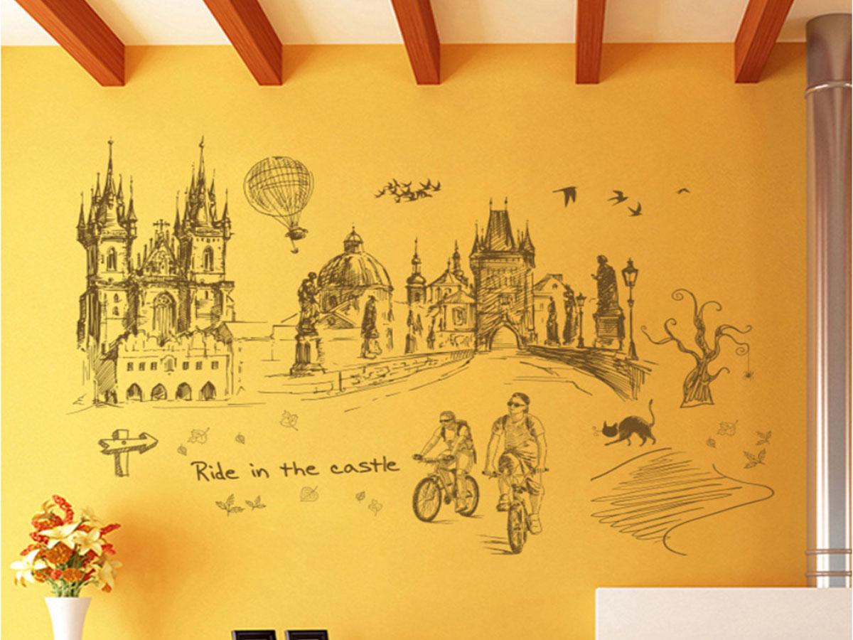 decal dán tường thành phố du lịch nâu xl8273