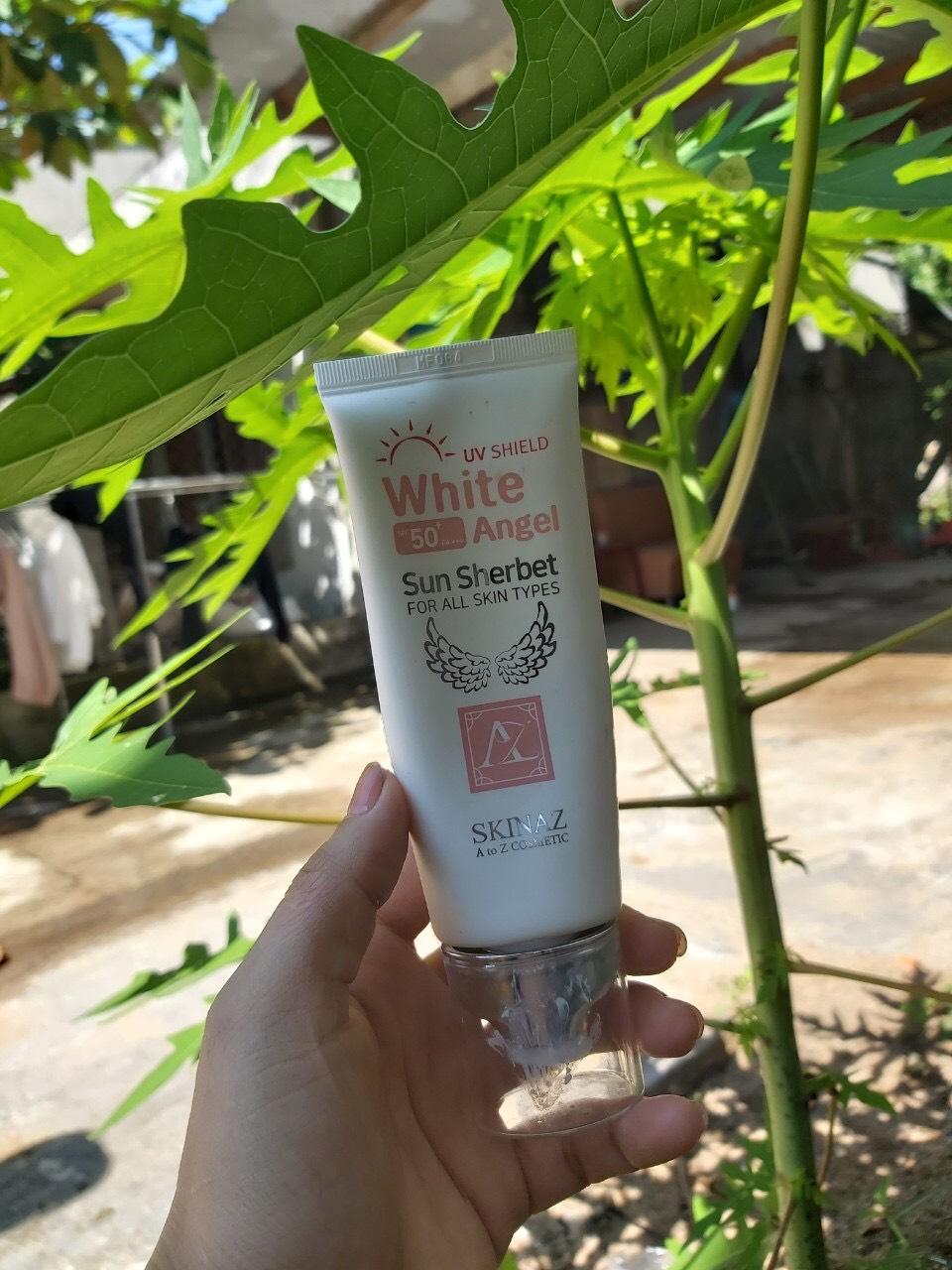 Kem Chống Nắng Skinaz Hàn Quốc (White Angel Sun Sherbet) SPF 50 + mẫu mới 2020 (70ml)