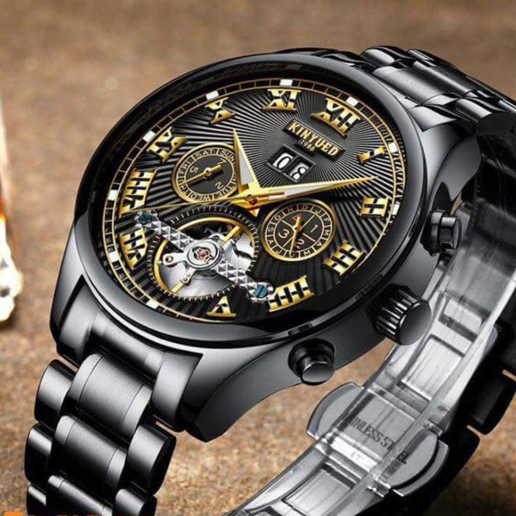 Đồng hồ Kinyued cơ doanh nhân thời trang (la bàn màu đen)