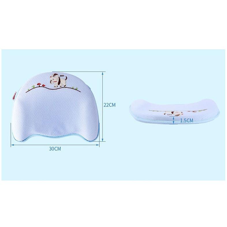 Gối cao su đa năng tiện dụng với 04 chức  năng: chống bẹp đầu, méo đầu, còm lưng và vẹo cổ cho trẻ sơ sinh- Màu xanh dương