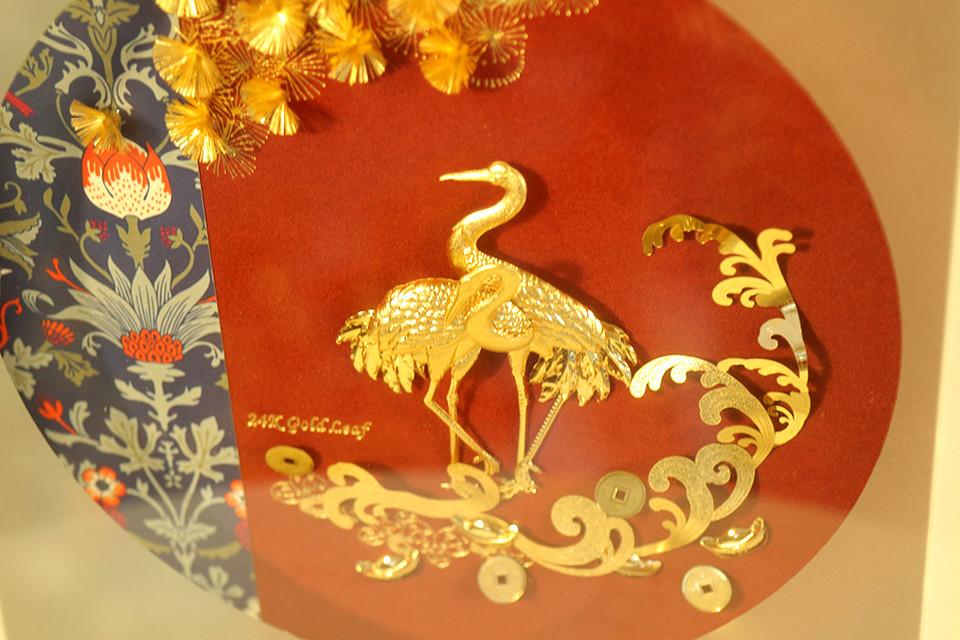 Quà tặng Tân gia - Tranh Hạc dát vàng 24k