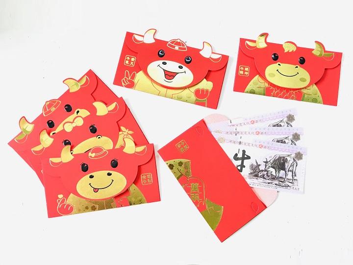 ( Mẫu 1) Set 6 bao lì xì con trâu 3D cute nhũ vàng 2021, dùng để đựng thiệp chúc, tiền lì xì, mừng tuổi dễ thương và ý nghĩa - TMT Collection.com - SP005089