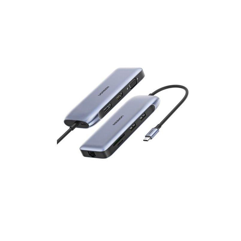 USB type C Bộ chuyển đổi sang 2*USB 3.0 + HDMI + VGA + DP + RJ45 giga + SD&TF + nguồn PD Ugreen 70301 CM274 Hàng Chính Hãng
