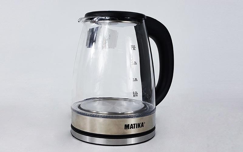 [Hàng chính hãng]Ấm Siêu Tốc Thủy Tinh 1.8L Matika MTK-35 Công Suất 1800W Thiết Kế Hiện Đại Trong Suốt Đun Nước Siêu Nhanh Có Đèn Led Khi Sôi