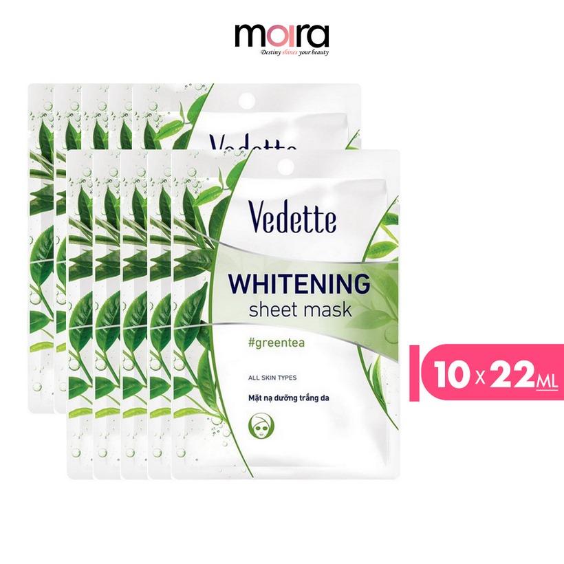 Combo 10 Mặt nạ giấy dưỡng trắng da Trà xanh Vedette 22ml