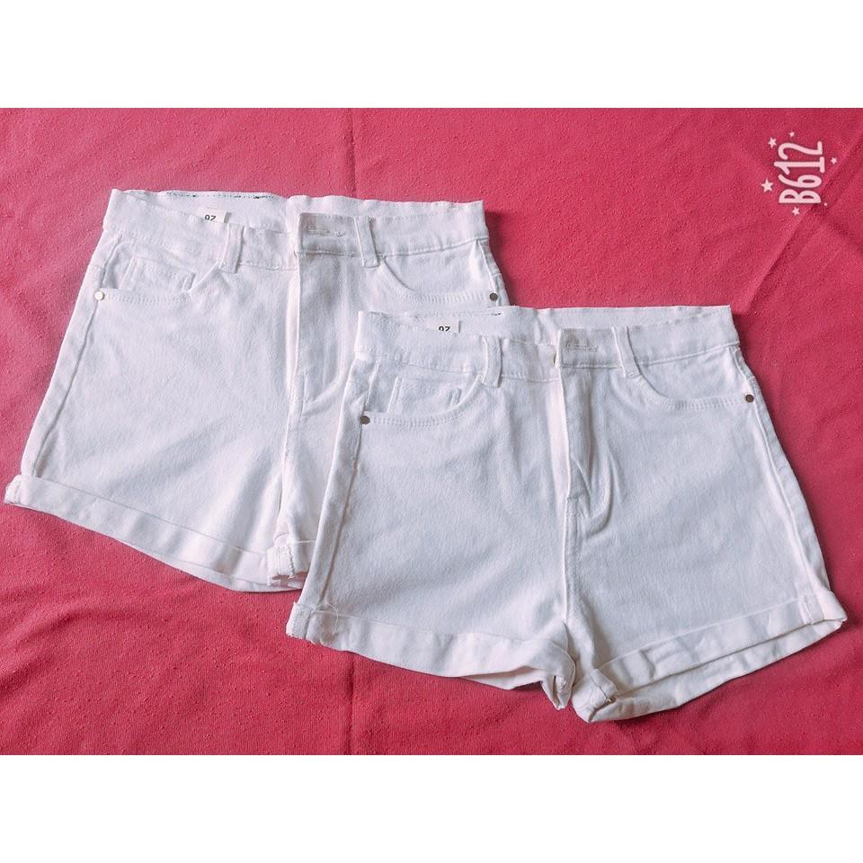 Quần short jeans kaki nữ màu trắng
