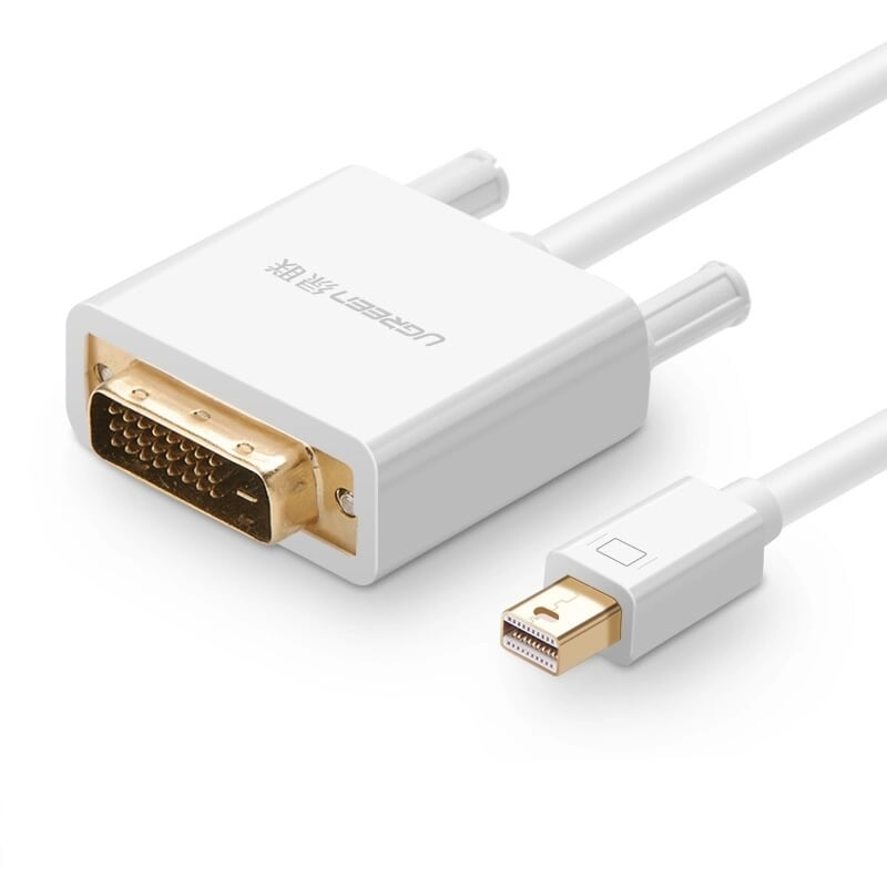 Cáp chuyển đổi Mini DP sang DVI(24+1) 2M màu trắng Ugreen 10405MD102 Hàng chính hãng