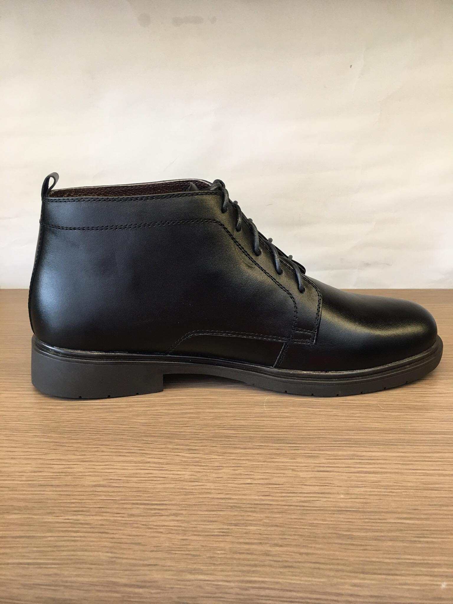 Giày boot nam cột dây da bò thật màu đen-B022