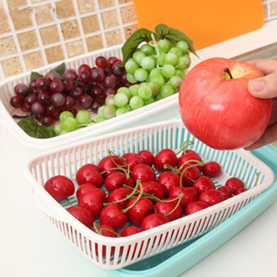 Bộ khay đựng hoa quả 2 lớp tiện lợi hình chữ nhật (giao màu ngẫu nhiên) - Hàng Nội Địa Nhật