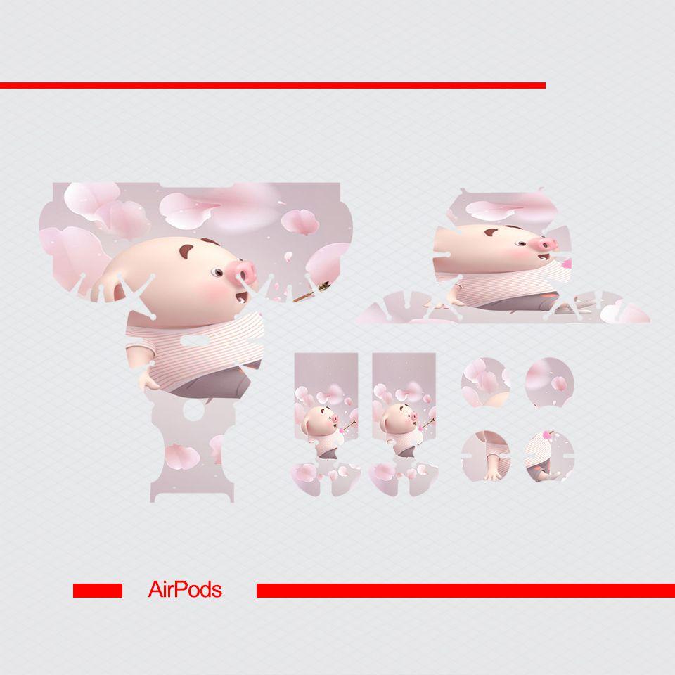 Miếng dán skin chống bẩn cho tai nghe AirPods in hình Heo con dễ thương - HEO2k19 - 187 (bản không dây 1 và 2)