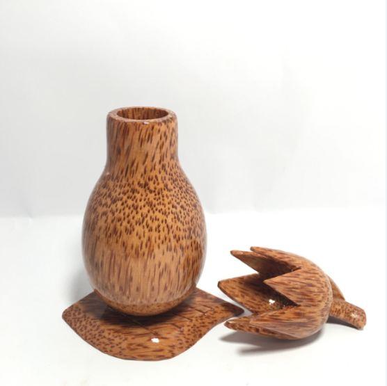 Lọ đựng tăm- hũ tăm gỗ dừa độc đáo, bắt mắt RT302