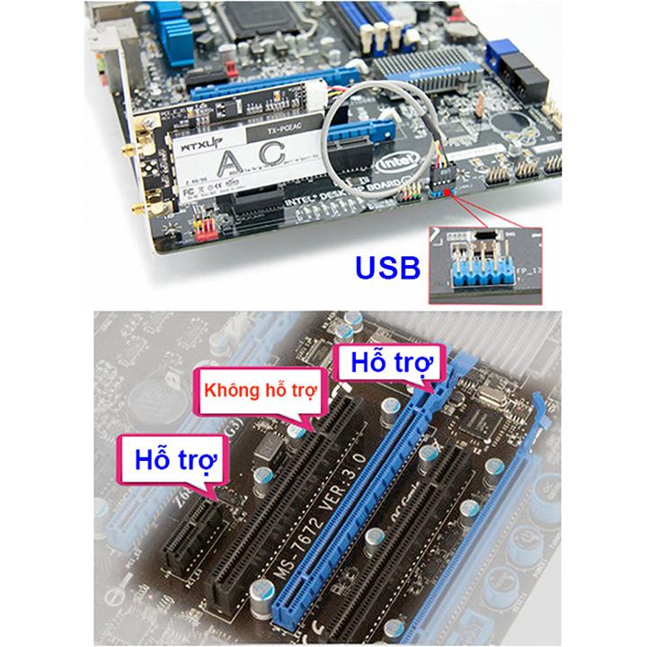 Card wifi tích hợp bluetooth PCI-E cho máy tính bàn Wtxup 7260AC 867Mbps