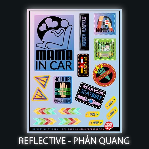 Mama in car - Reflective Sticker hình dán phản quang 3M Premium